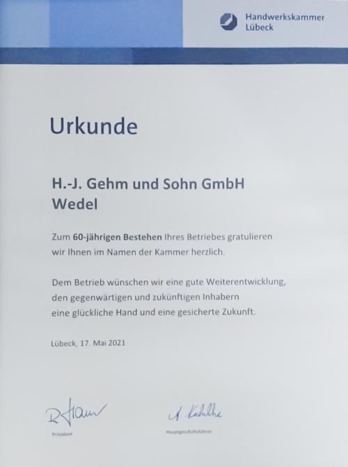 maler-wedel-60-Jähriges-Jubiläum-Urkunde-2021